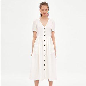 Zara Cream Linen Midi Dress Sz XS